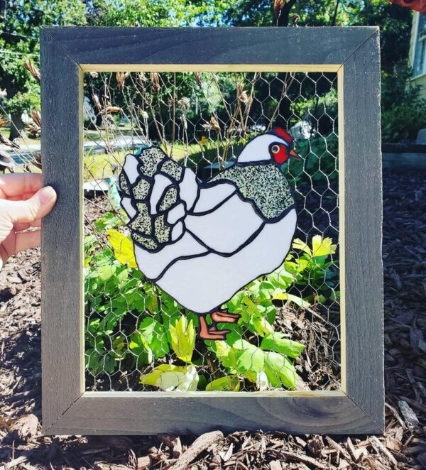 Stained Glass Chicken Framed