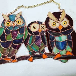 Stained Glass Owl Trio