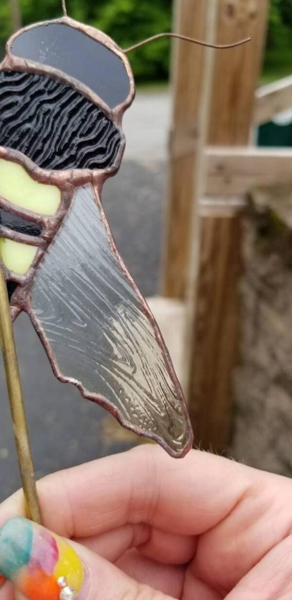 Bee Garden Plant Stake Stained Glass