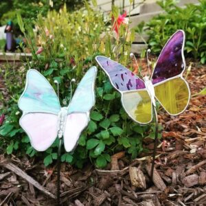 Butterfly Garden Plant Stake Stained Glass