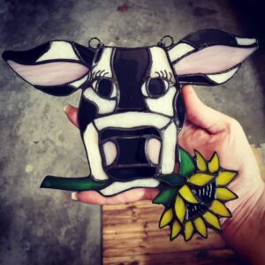 Cow Suncatcher with Sunflower