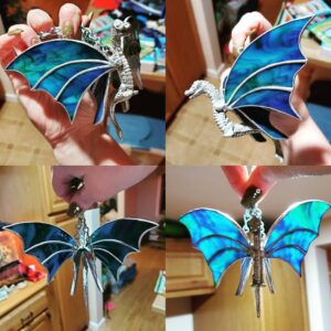 Dragon Hanging Figurine with Stained Glass Wings