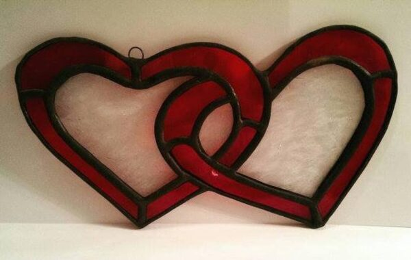 Hearts Two Interlocked Stained Glass