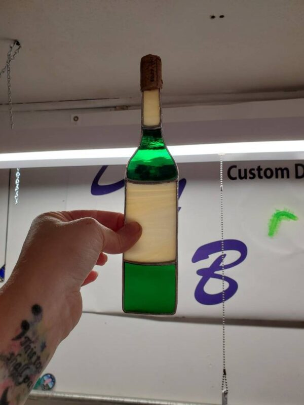 Wine Bottle Suncatcher with Cork Accent Stained Glass