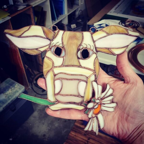 Brown Cow with Daisy Stained Glass