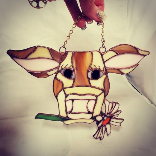 Brown Cow with Daisy