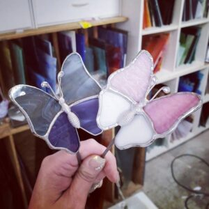 Butterfly Mini Garden Stake Stained Glass