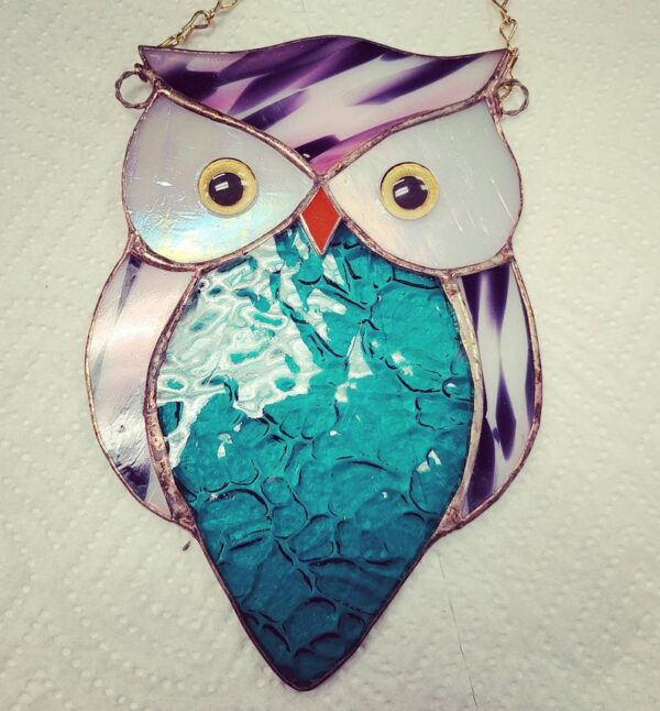 Owl Suncatcher Stained Glass with painted Glass Eyes.