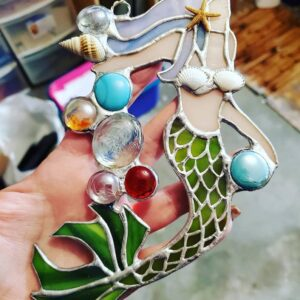 Mermaid Sea Shells Gems Stained Glass
