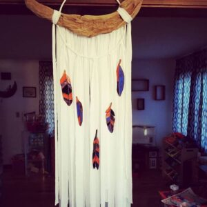 Dream-catcher wall hanging with Stained Glass Feathers