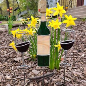 Wine Bottle Wine Glasses Stained Glass Garden Stake Collection